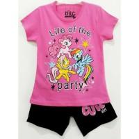 Size 1-10 Setelan Piyama Pendek Anak Karakter Little Pony Party Pink