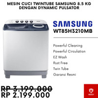 (Termurah) Mesin Cuci 2 tabung Samsung WT85H3210MB 8.5 Kg Air Turbo