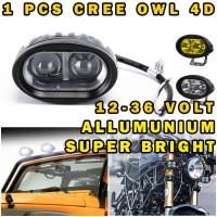 LAMPU TEMBAK LED OWL SOROT CREE 2 MATA OVAL 12-36V ALLUMUNIUM