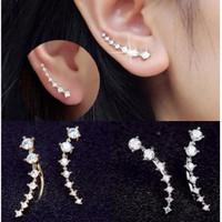 Anting Wanita GARIS CURL Berlian Korea Fashion Women Earring Giwang