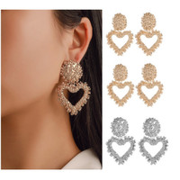 Anting Panjang Gantung LOVE Korea Fashion Vintage Earrings Women Geome