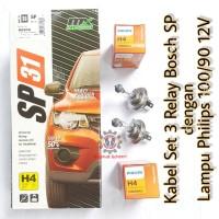 Kabel Relay Lampu Bosch 3 Relay dengan Lampu Philips H4 100/90 12v Ori