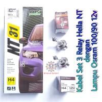 Kabel Relay Lampu Hella 3 Relay dengan Lampu Osram H4 100/90 12v Asli
