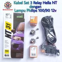 Kabel Relay Lampu Hella 3 Relay dengan Lampu Philips H4 100/90 12v Ori