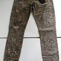 Celana jeans wanita GUESS BRITNEY SKINNY ANKLE LEOPARD Sz 27