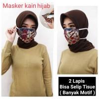 READY STOK Masker Kain Batik 2 Lapis Selip Tisue HEADLOOP / HIJAB