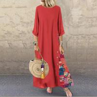 ZANZEA Wanita Katun Gaun Kemeja Panjang Floral Print Patchwork Longgar