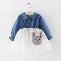 Dress Casual Model Tulle Desain Patchwork Bahan Denim untuk Anak