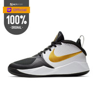 Sepatu Basket Nike Team Hustle D 9 GS Black Metallic Gold Original AQ4