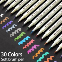 30Colors Metallic Soft Brush Marker Pen DIY Scrapbooking Crafts For