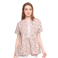 Jeanette Floral Printed Blouse with Details - Cream