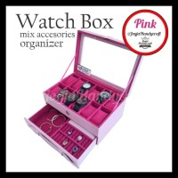 Termurah Grade Ori Watch Box / Kotak Tempat Jam Tangan Isi 12 Laci