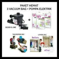 Termurah Paket Hemat Pompa Listrik + Vacuum Bag 3 Pc Mudik Traveling