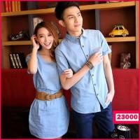 KEMEJA COUPLE KOREA STYLE / Dress Denim Couple Blue Jeans Terjamin