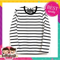 Kaos Anak Murah Lengan Panjang Lollipop Kids Store - Salur Polos White