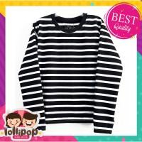 Kaos Anak Murah Lengan Panjang Lollipop Kids Store - Salur Polos Black