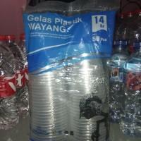 gelas plastik merk wayang ukuran 14