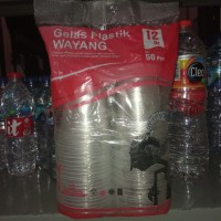 gelas plastik merk wayang ukuran 12