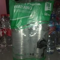 gelas plastik merk wayang ukuran 16