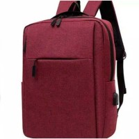 Tas Laptop Backpack Ransel Waterproof with USB Port 14 - 15.6 inch RED