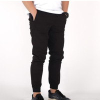 celana jeans panjang pria joger black original led streach 27 - 34
