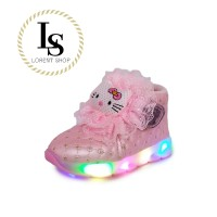Sepatu LED anak perempuan / boots lampu boneka cantik / glitter pesta
