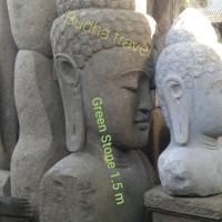 Patung Kepala Buddha Sakyamuni Green Stone Patung Buddha Batu Hijau