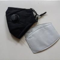 Masker PM 2.5 Katup Ganda Incld 2 Pcs Filter PM2.5 - Adult Size -Black
