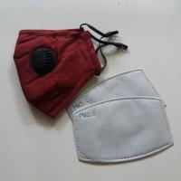 Masker PM 2.5 Katup Ganda Incld 2 Pcs Filter PM2.5 -Adult Size- Maroon