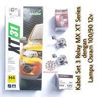 Kabel Relay Lampu MX XT 3 Relay dengan Lampu Osram H4 100/90w 12v Asli