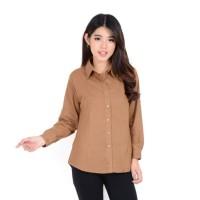 New kemeja wanita kantor Rayon basic polos warna Choco Fit to XL