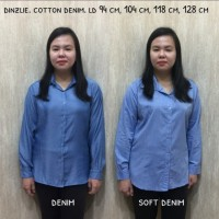 kemeja wanita kantor basic katun Denim Premium fit to XXL LD 118 cm