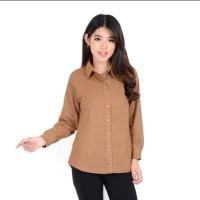 New kemeja wanita kantor Rayon basic polos warna Choco Fit to M - L