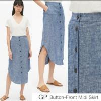 Gp button midi skirt - chbray linen