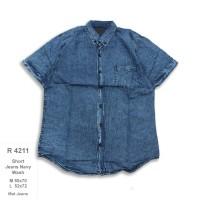 R4211 Kemeja Pendek Pria Short Jeans Navy Wash