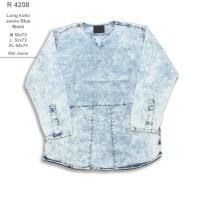 R4208 Kemeja Panjang Pria Long Koko Jeans Blue Wash