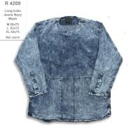 R4209 Kemeja Panjang Pria Long Koko Jeans Navy Wash