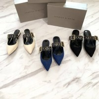 Sandal mules wanita CKS010 Flatshoes Heels sendal CNK CK Ori import