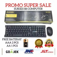 PAKET KEYBOARD WIRELESS + MOUSE WIRELESS BANDA W200 ORIGINAL