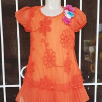 Dress Anak / Dress Bunga Warna Orange