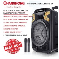 PORTABLE SOUND SYSTEM SPK 8 INCH 2 WIRELESS MIC - CHANGHONG CYD-186HH