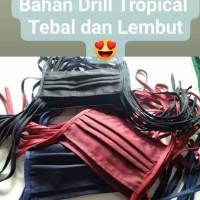 Masker Kain LUSINAN murah Model Tali Hijab Bahan Drill Tebal & Halus