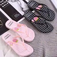 Sandal Wanita Jepit Strawberry Spon Flat Teplek
