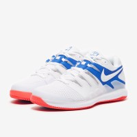 Sepatu Tenis Nike Air Zoom Vapor X HC - White/Game Royal/Flash Crimson