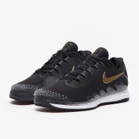 Sepatu Tenis Nike Air Zoom Vapor X Knit - Black/Metallic Gold/White