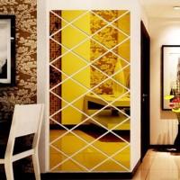 Stiker Cermin 3D Mewah DIY Bahan Akrilik untuk Dekorasi Ruang Tamu