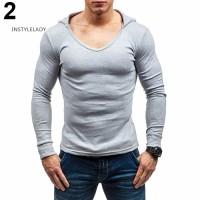Sweater Kaos Hoodie Pria Slim Fit Lengan Panjang Warna Polos untuk Mus