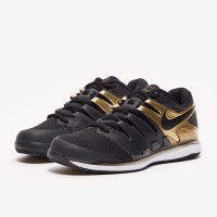 Sepatu Tenis Nike Air Zoom Vapor X HC - Black/Metallic Gold/White