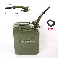20L Black Metal Jerry Can Gas Canister Rubber Nozzle Spout Style