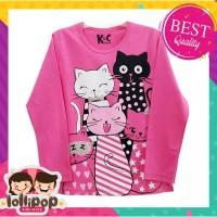 Kaos Anak Murah Lengan Panjang Lollipop Kids Store - Five Cats Pink
